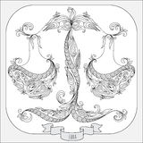 Hand drawn pattern for coloring book zodiac Libra. Pattern for coloring book. Hand drawn line flowers art of zodiac Libra. Horoscope symbol for your use. For Stock Photography