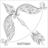 Hand drawn pattern for coloring book zodiac Sagittarius. Pattern for coloring book. Hand drawn line flowers art of zodiac Sagittarius. Horoscope symbol for your Stock Image