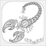 Hand drawn pattern for coloring book zodiac Scorpio. Stock Images