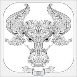 Hand drawn pattern for coloring book zodiac Taurus Royalty Free Stock Photos