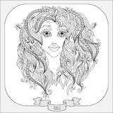Hand drawn pattern for coloring book zodiac Virgo. Pattern for coloring book. Hand drawn line flowers art of zodiac Virgo. Horoscope symbol for your use. For Stock Image