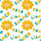 Hand drawn pattern of a cute lion with lettering. royalty free stock photo