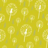 Hand drawn pattern of dandelion on a yellow background. Seamless pattern can be used for wallpaper, pattern fills, web page background, surface textures Stock Image