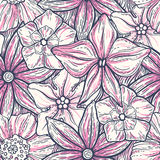 Hand drawn pattern with decorative floral ornament. Stylized colorful flowers. Summer spring neutral background. Vector Royalty Free Stock Photo