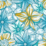 Hand drawn pattern with decorative floral ornament. Stylized colorful flowers. Summer spring neutral background. Vector Royalty Free Stock Photos