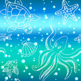 Hand drawn pattern with different sea creatures Royalty Free Stock Photography