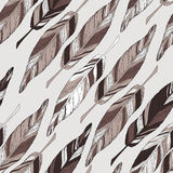 Hand drawn pattern with feathers. Vector illustration. EPS 10 vector illustration