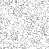 Hand drawn pattern floral background. Flower black line on white. Packaging, fabric, wrapping, prints, cards, wedding Stock Image