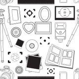 Hand drawn pattern illustration set of photography sign Stock Image