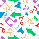 Hand drawn pattern with music elements Stock Photo