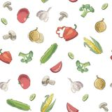 Hand drawn pattern of raw food Royalty Free Stock Image