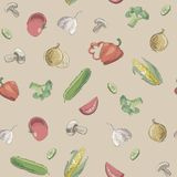 Hand drawn pattern of raw food Royalty Free Stock Images