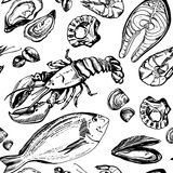 Hand drawn pattern of seafood. Stock Images