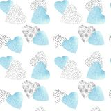 Hand drawn pattern seamless watercolor and graphic hearts with strokes  for Christmas, Valentine`s day, Mother`s day or weddings royalty free illustration