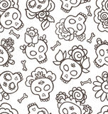 Hand-drawn pattern with skulls-catrinas Stock Photos