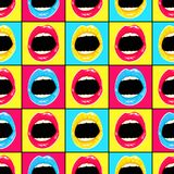 Hand drawn pattern in style pop art with colorful lips and teeth. Bright background vector illustration