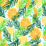Hand drawn  pattern. Summer vacation. Tropical seamless background for baby textile, surface, home interior, cover, fabric, wallpapers, print, gift wrap, cards Royalty Free Stock Image