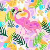 Hand drawn  pattern. Summer vacation. Tropical seamless background for baby textile, surface, home interior, cover, fabric, wallpapers, print, gift wrap, cards Royalty Free Stock Photos