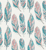 Hand Drawn Pattern with Tribal Feathers Royalty Free Stock Image