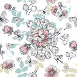 Hand drawn pattern in vintage style with flowers Stock Images