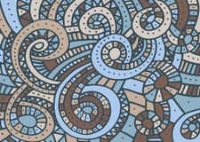 Hand drawn pattern with wave, curl and dot. Royalty Free Stock Photos