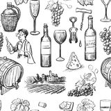 Hand drawn pattern of wine making Royalty Free Stock Photos