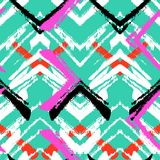 Hand Drawn Pattern With Brushed Zigzag Line. Stock Image