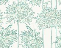 Hand Drawn Pattern With Chrysanthemum. Stock Photos