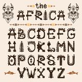 Hand Drawn Pattern With Tribal Font Typeface And Mask Ethnic . Capital Letters For Your Design, Wallaper, Textile, Print Stock Photo