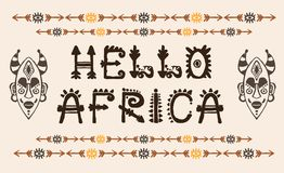Hand Drawn Pattern With Tribal Mask Ethnic And Letters. Sketch For Your Design, Wallaper, Textile, Print. African Stock Image