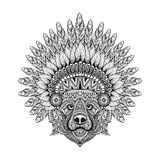 Hand Drawn patterned Bear in zentangle style in  Feathered War b Royalty Free Stock Images