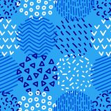 Hand drawn patterned circles geometric seamless pattern in blue and white, vector. Background royalty free illustration