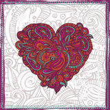 Hand drawn patterned heart Stock Image