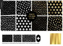 Hand drawn Patterns - black. Hand drawn Patterns - a group set of eight abstract seamless patterns - black, gold and white. Geometrical drawings, lines, drops Vector Illustration