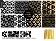 Hand drawn Patterns - black. Hand drawn Patterns - a group set of eight abstract seamless patterns - black, gold and white. Geometrical drawings, lines, illusion Vector Illustration