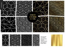 Hand drawn Patterns - black. Hand drawn Patterns - a group set of eight abstract seamless patterns - black, gold and white. Geometrical lines and shapes. - black royalty free illustration