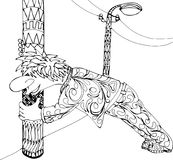 Drunk man clings to a lamppost. Hand drawn patterns for coloring. Freehand sketch drawing for adult antistress coloring book Stock Images