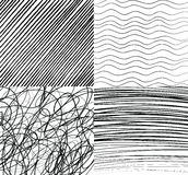 Hand drawn patterns. Easy to change colors. Waves, stripes, circles. Stock Photo