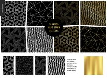 Hand drawn Patterns - black. Hand drawn Patterns - a group set of eight abstract seamless patterns - black, gold and white. Geometrical drawings, lines and dots stock illustration
