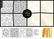 Hand drawn Patterns - white. Hand drawn Patterns - a group set of eight abstract seamless patterns - black, gold and white. Geometrical lines and shapes - white royalty free illustration