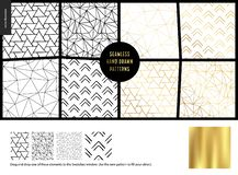 Hand drawn Patterns - white. Hand drawn Patterns - a group set of eight abstract seamless patterns - black, gold and white. Geometrical lines and shapes - white stock illustration