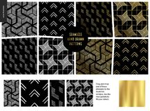 Hand drawn Patterns - black. Hand drawn Patterns - a group set of eight abstract seamless patterns - black, gold and white. Geometrical drawings, lines and dots royalty free illustration
