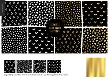 Hand drawn Patterns - black. Hand drawn Patterns - a group set of eight abstract seamless patterns - black, gold and white. Rubes, triangles, hearts and dots Royalty Free Illustration