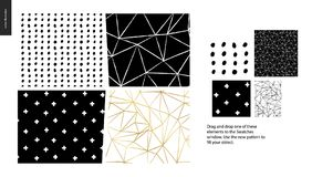 Hand drawn Patterns - pieces. Hand drawn Patterns - a group set of four abstract seamless patterns - black, gold and white. Geometrical lines, dots and shapes Vector Illustration