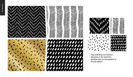 Hand drawn Patterns - pieces. Hand drawn Patterns - a group set of four abstract seamless patterns - black, gold and white. Geometrical lines, dots and shapes Stock Illustration
