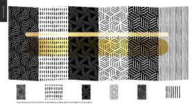 Hand drawn Patterns - pieces. Hand drawn Patterns - a group set of six abstract seamless patterns - black, gold and white. Verticle pieces of geometrical lines Royalty Free Illustration