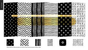 Hand drawn Patterns - pieces. Hand drawn Patterns - a group set of six abstract seamless patterns - black, gold and white. Verticle pieces of geometrical lines vector illustration