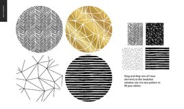 Hand drawn Patterns - rounded. Hand drawn Patterns - a group set of four abstract seamless patterns - black, gold and white. Circle rounded pieces with royalty free illustration