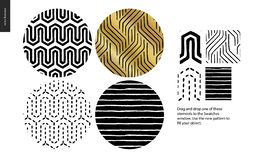 Hand drawn Patterns - rounded. Hand drawn Patterns - a group set of four abstract seamless patterns - black, gold and white. Circle rounded pieces with stock illustration