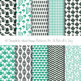 Hand drawn patterns for St. Patrick's celebration Royalty Free Stock Photo